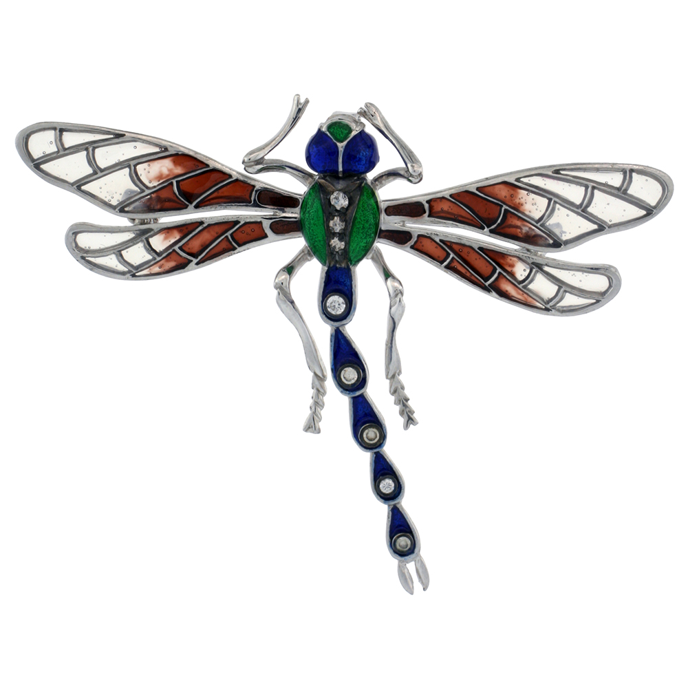 Sterling Silver Multi Color Enamel Dragonfly Brooch, 2 5/16 in. (59 mm) wide