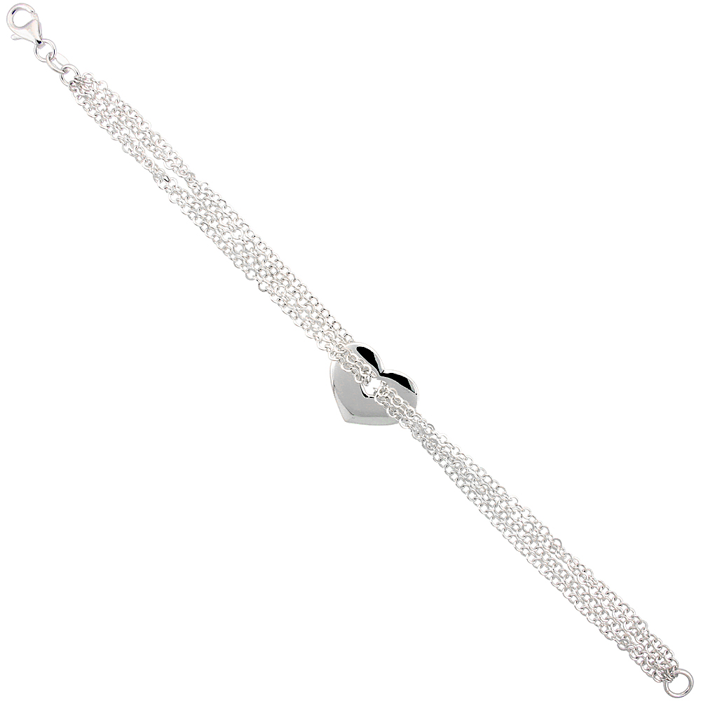 Sterling Silver 4-Strand Rolo Link Heart Bracelet, 7 inches long