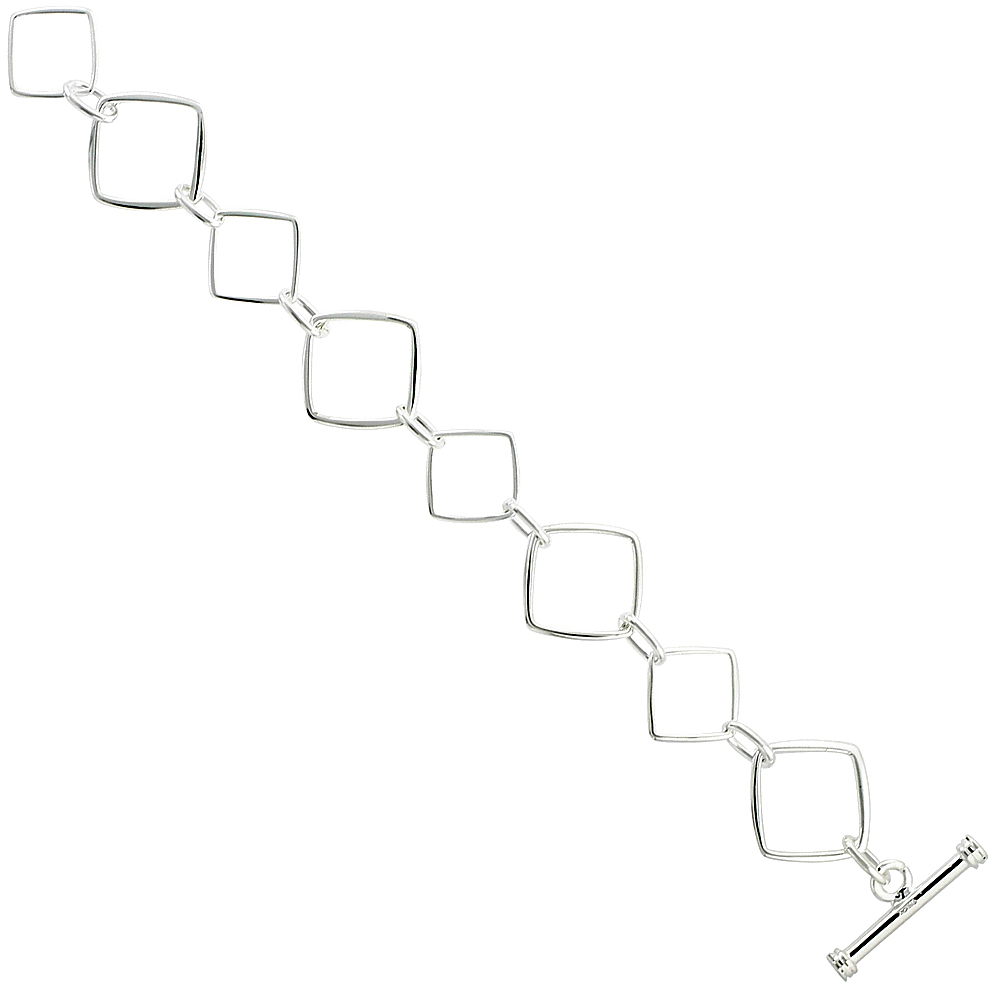 Sterling Silver Square Cut Outs Toggle Bracelet, 11/16 inch wide