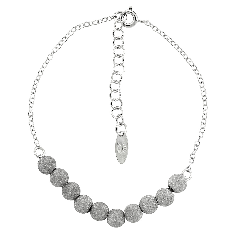 Sterling Silver Stardust Bead Baby Bracelet, 6 inch long + 1 inch extension