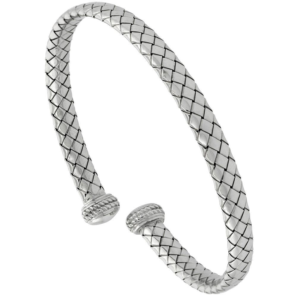 Sterling Silver Cuff Bracelet Basketweave Tubing Italy , fits 6.5-7 inch