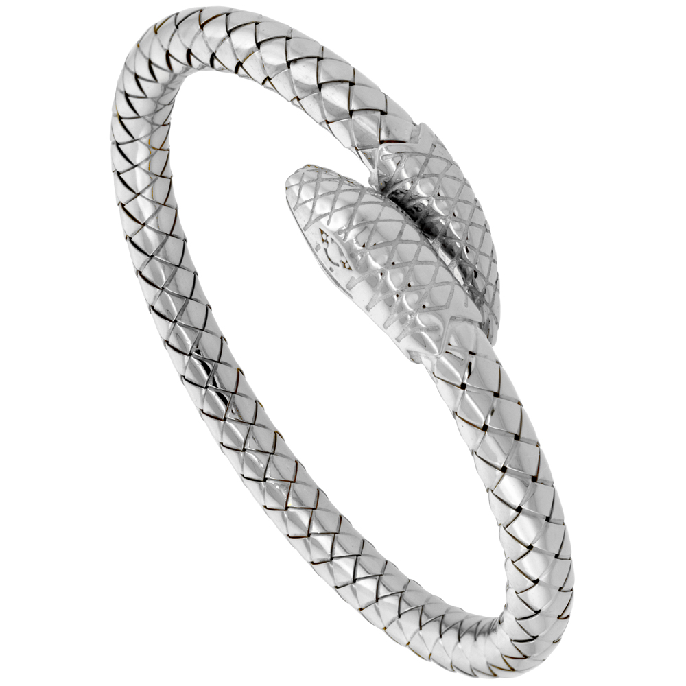 Sterling Silver Italian Flexible Snake Weave Cuff Bangle Rhodium Finish, fits 7 inch wrists