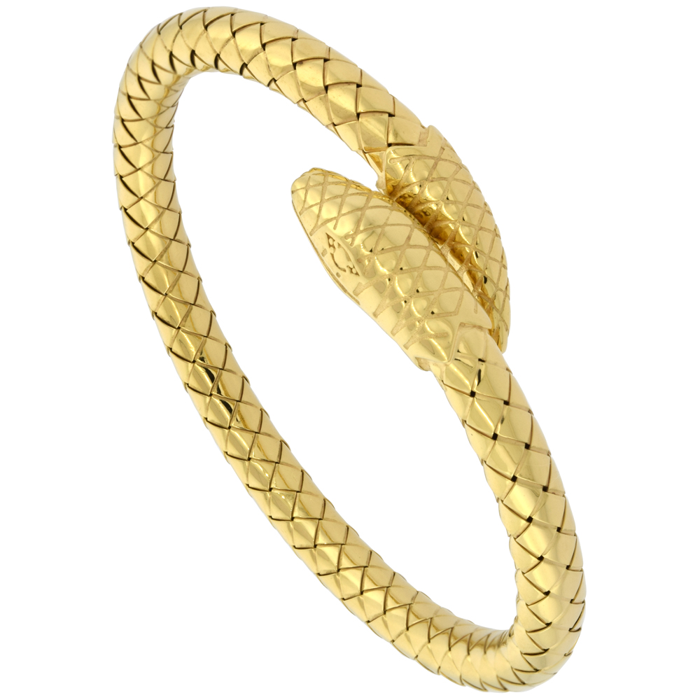 Sterling Silver Italian Flexible Snake Weave Cuff Bangle Yellow Gold Finish, fits 7 inch wrists