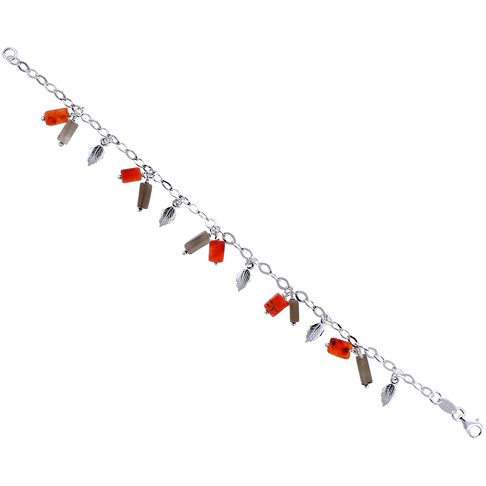 Sterling Silver Italian Charm Bracelet, w/ Dangling Leaves and Natural Carnelian & Smoky Topaz Stones 1/2 (13 mm) wide ""