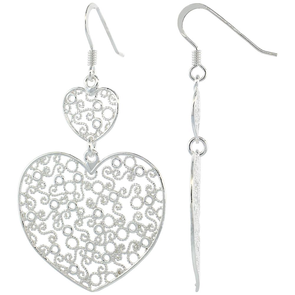 Sterling Silver Double Heart Filigree Dangle Earrings, 2 1/16 in. (53 mm) tall