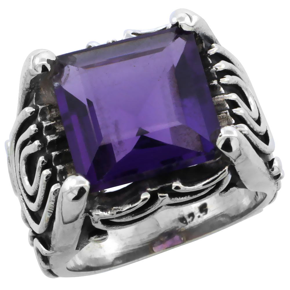 Sterling Silver Bali Inspired Horseshoe Design Square Ring w/ 12mm Princess Cut Natural Amethyst Stone, 19/32 in. (15 mm) wide