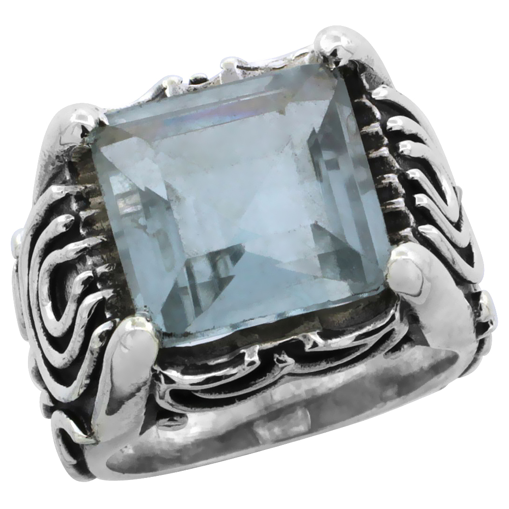 Sterling Silver Bali Inspired Horseshoe Design Square Ring w/ 12mm Princess Cut Natural Blue Topaz Stone, 19/32 in. (15 mm) wide