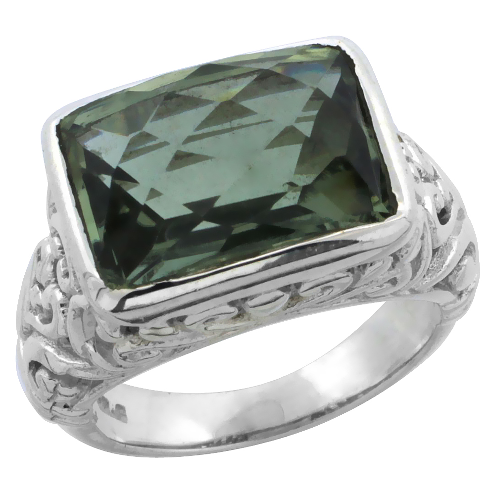 Sterling Silver Bali Inspired Rectangular Filigree Ring w/ 14x10mm Checkerboard Cut Natural Green Amethyst Stone, 15/32 in. (12 mm) wide