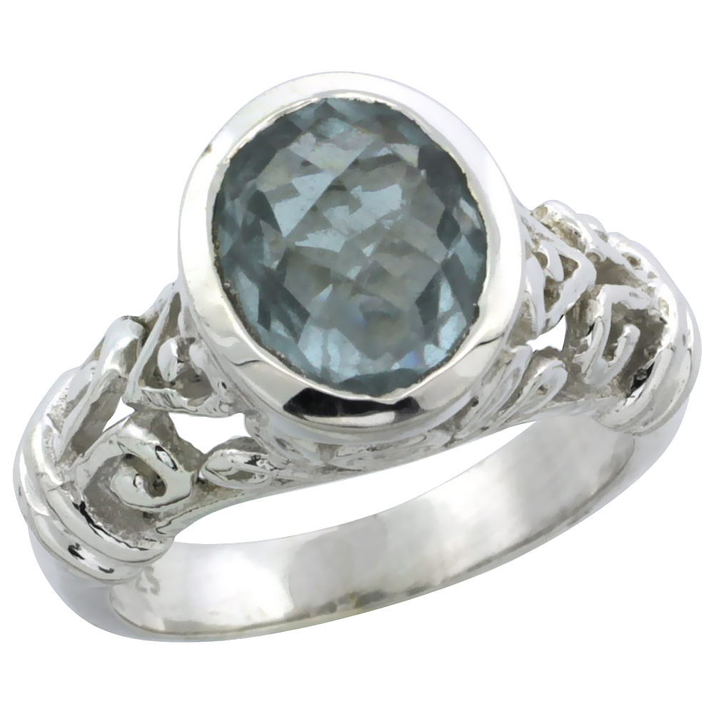 Sterling Silver Bali Inspired Oval Filigree Ring w/ 10x8mm Oval Cut Natural Blue Topaz Stone, 15/32 in. (12 mm) wide