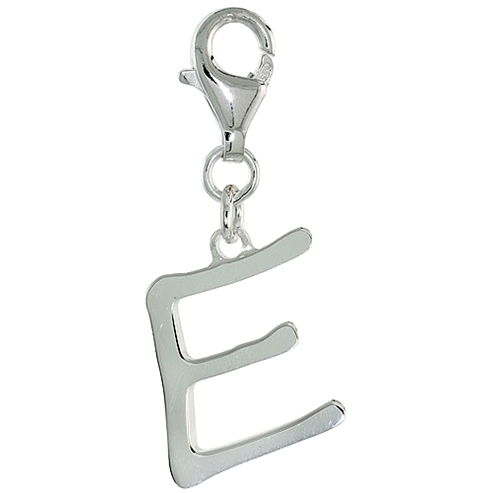 Sterling Silver Block Initial Charm E Alphabet Pendant Lobster Claw Clasp High Polished, 7/8 inch