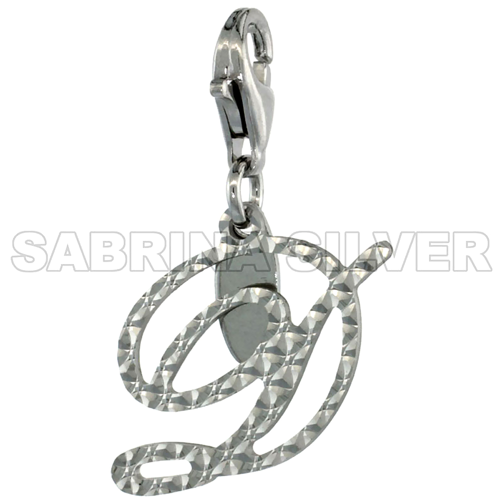 Sterling Silver Script Initial Charm D Alphabet Pendant Diamond Cut Lobster Claw Clasp, 3/4 inch