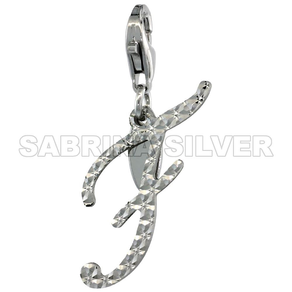 Sterling Silver Script Initial Charm F Alphabet Pendant Diamond Cut Lobster Claw Clasp, 3/4 inch