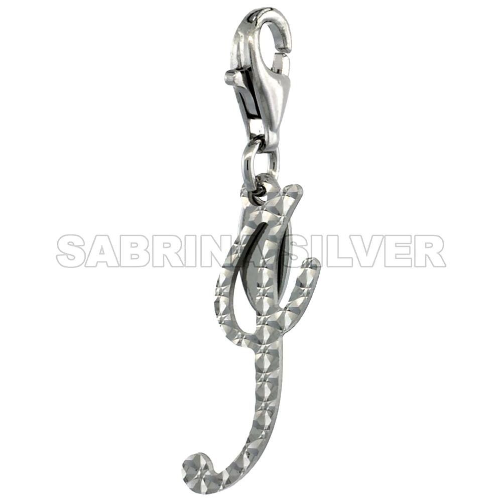 Sterling Silver Script Initial Charm I Alphabet Pendant Diamond Cut Lobster Claw Clasp, 3/4 inch