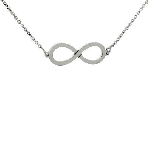 18 inch Sterling Silver Infinity Necklace High Polish, Italy