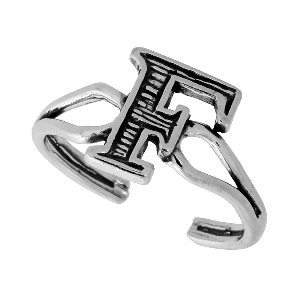 Sterling Silver Initial Letter F Alphabet Toe Ring / Baby Ring, Adjustable sizes 2.5 to 5, 3/8 inch wide