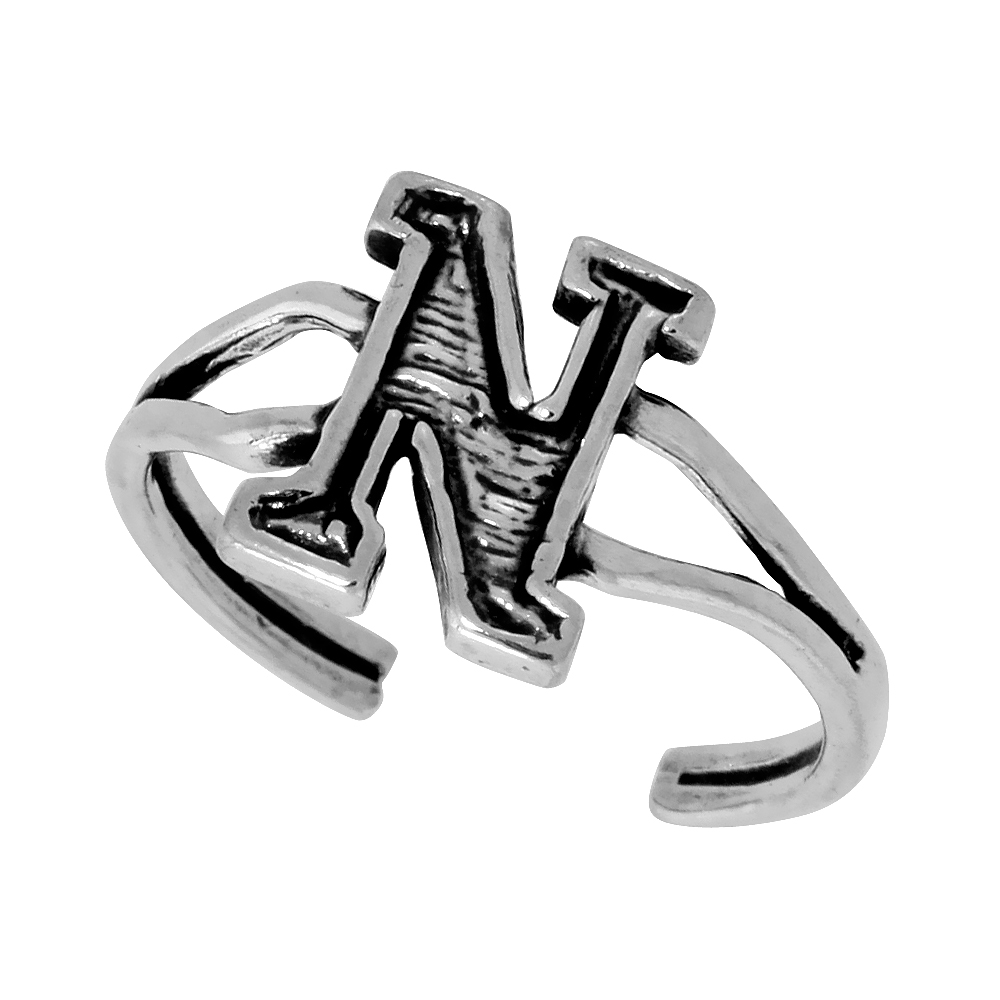 Sterling Silver Initial Letter N Alphabet Toe Ring / Baby Ring, Adjustable sizes 2.5 to 5, 3/8 inch wide