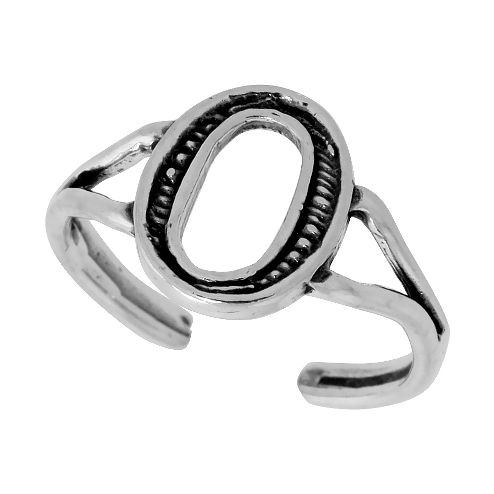 Sterling Silver Initial Letter O Alphabet Toe Ring / Baby Ring, Adjustable sizes 2.5 to 5, 3/8 inch wide