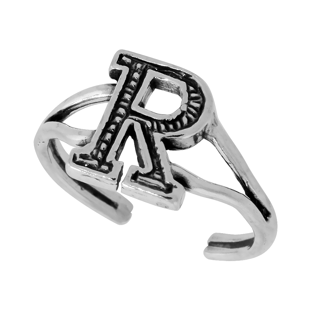 Sterling Silver Initial Letter R Alphabet Toe Ring / Baby Ring, Adjustable sizes 2.5 to 5, 3/8 inch wide