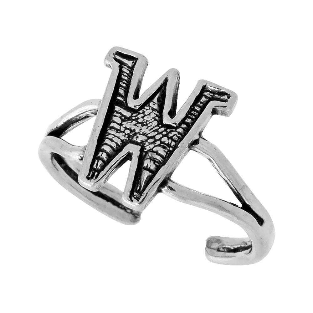 Sterling Silver Initial Letter W Alphabet Toe Ring / Baby Ring, Adjustable sizes 2.5 to 5, 3/8 inch wide