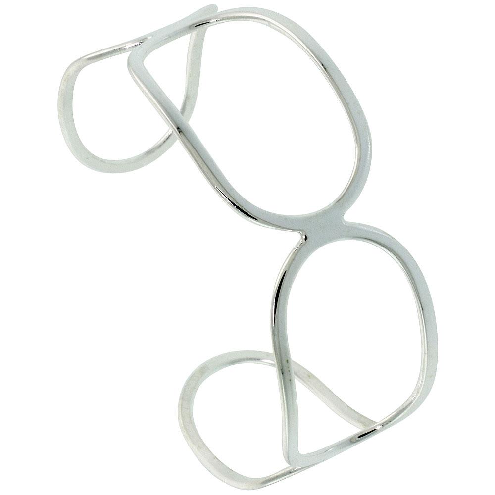 Sterling Silver Cuff Bracelet Handmade Wirework Italy 3/4 x 7 inch