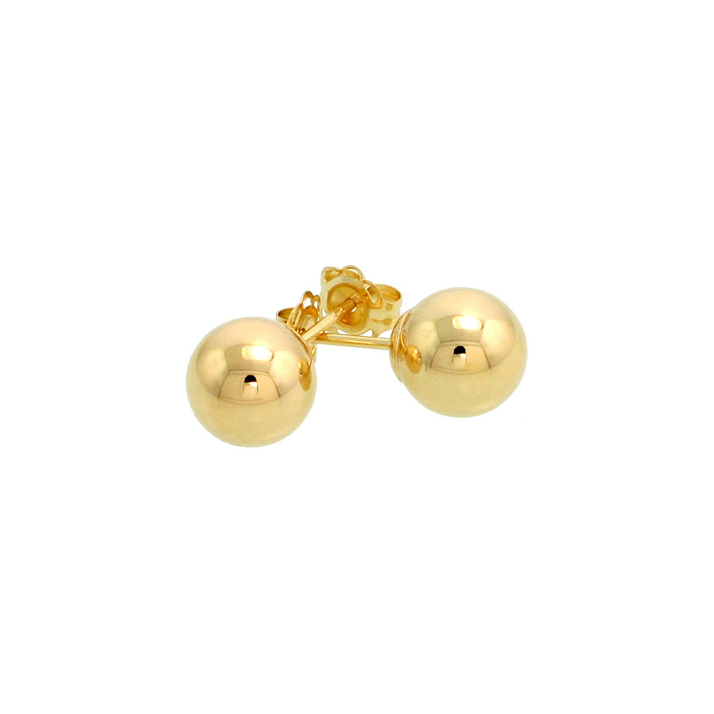 14k Yellow Gold 7mm Ball Earrings Studs