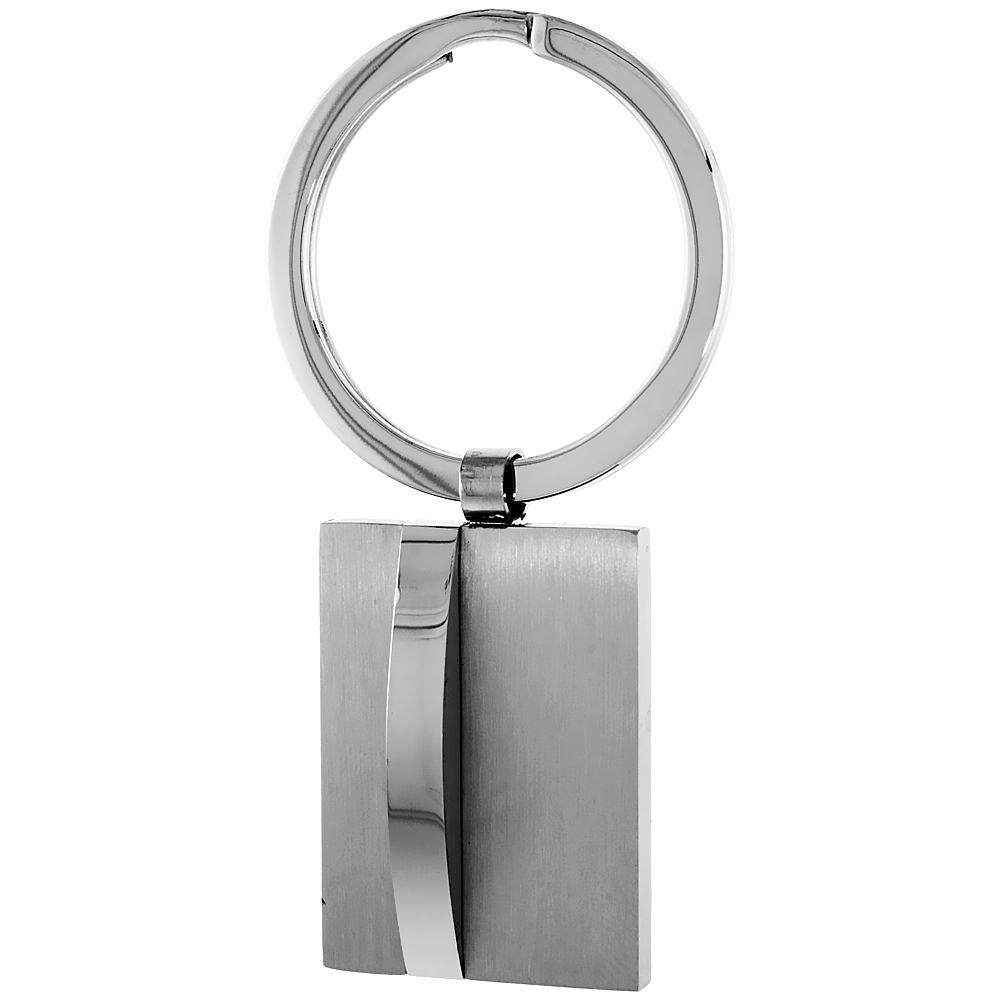Stainless Steel Keychain Square Tag Engravable, 2 1/2 inch