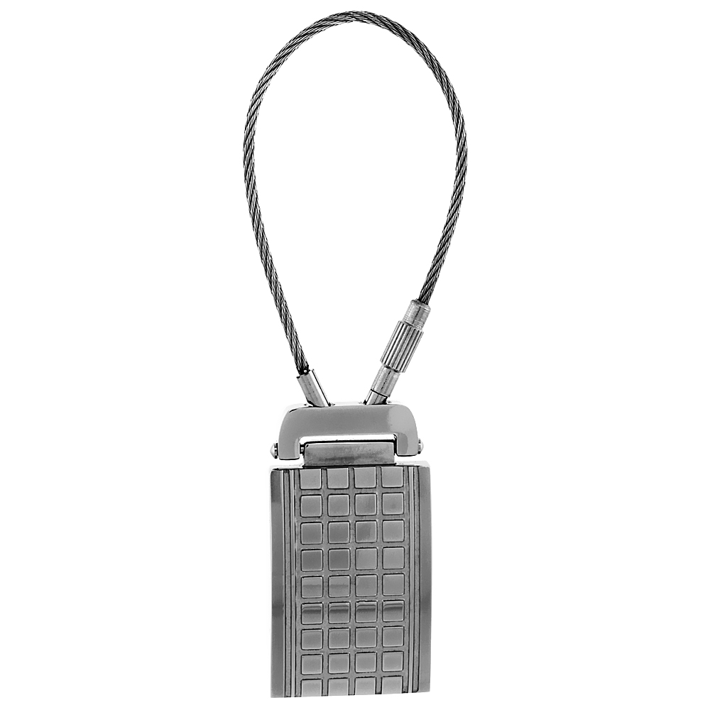 Stainless Steel Cable Keychain Checkerboard Pattern Engravable, 3 1/4 inch