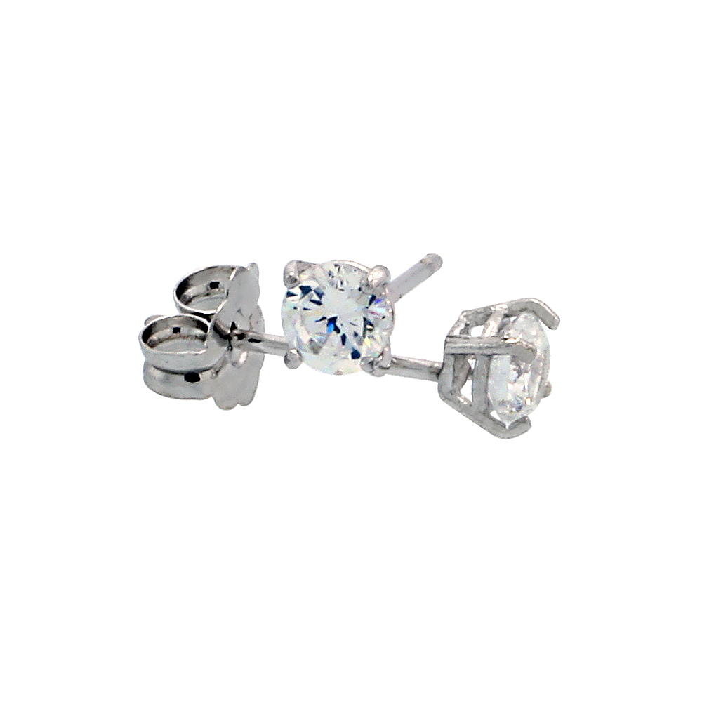 14k White Gold Cubic Zirconia Earrings Studs 3 mm Brilliant Cut Basket Setting 1/5 carat/pr