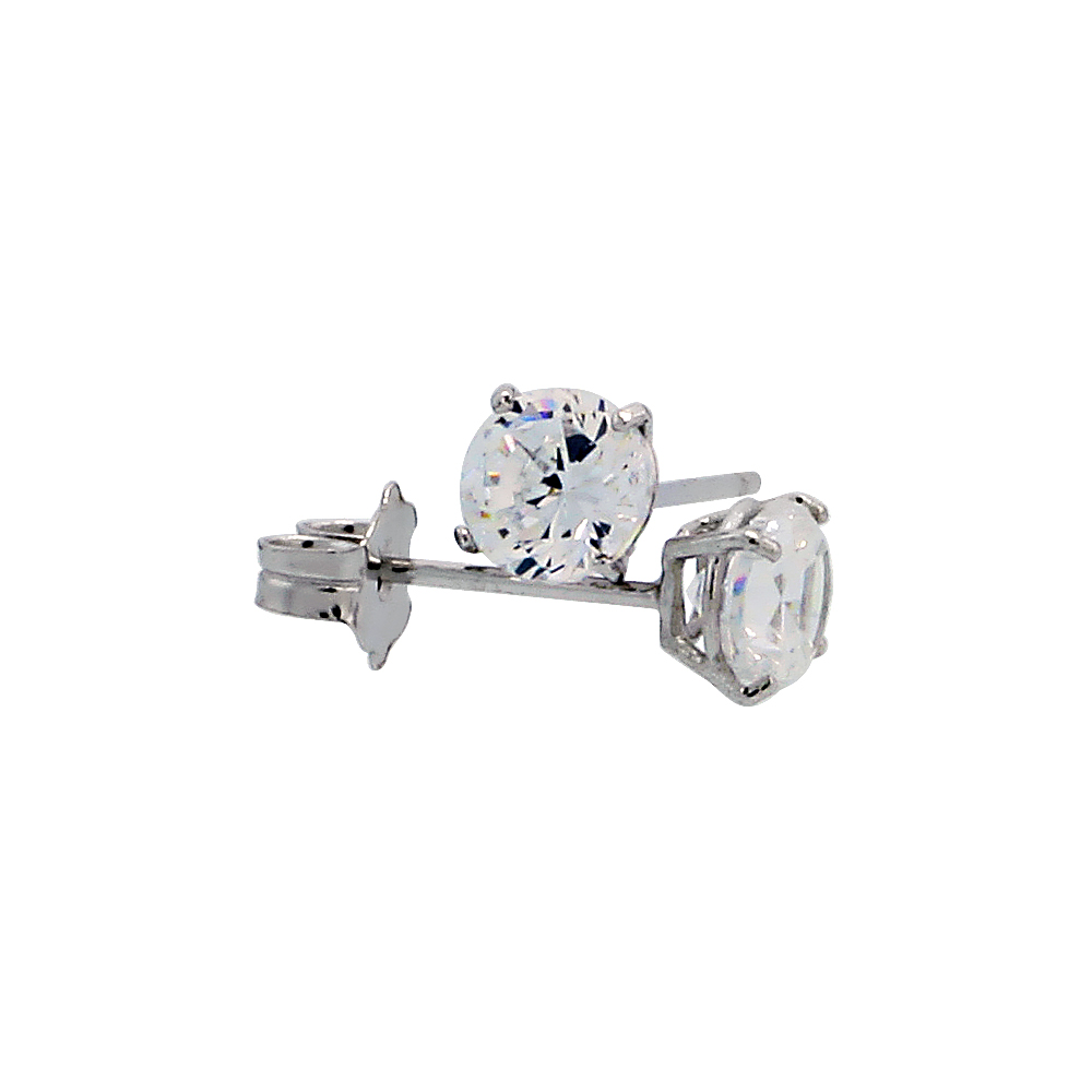 14k White Gold Cubic Zirconia Earrings Studs 4 mm Brilliant Cut Basket Setting.5 carats/pr