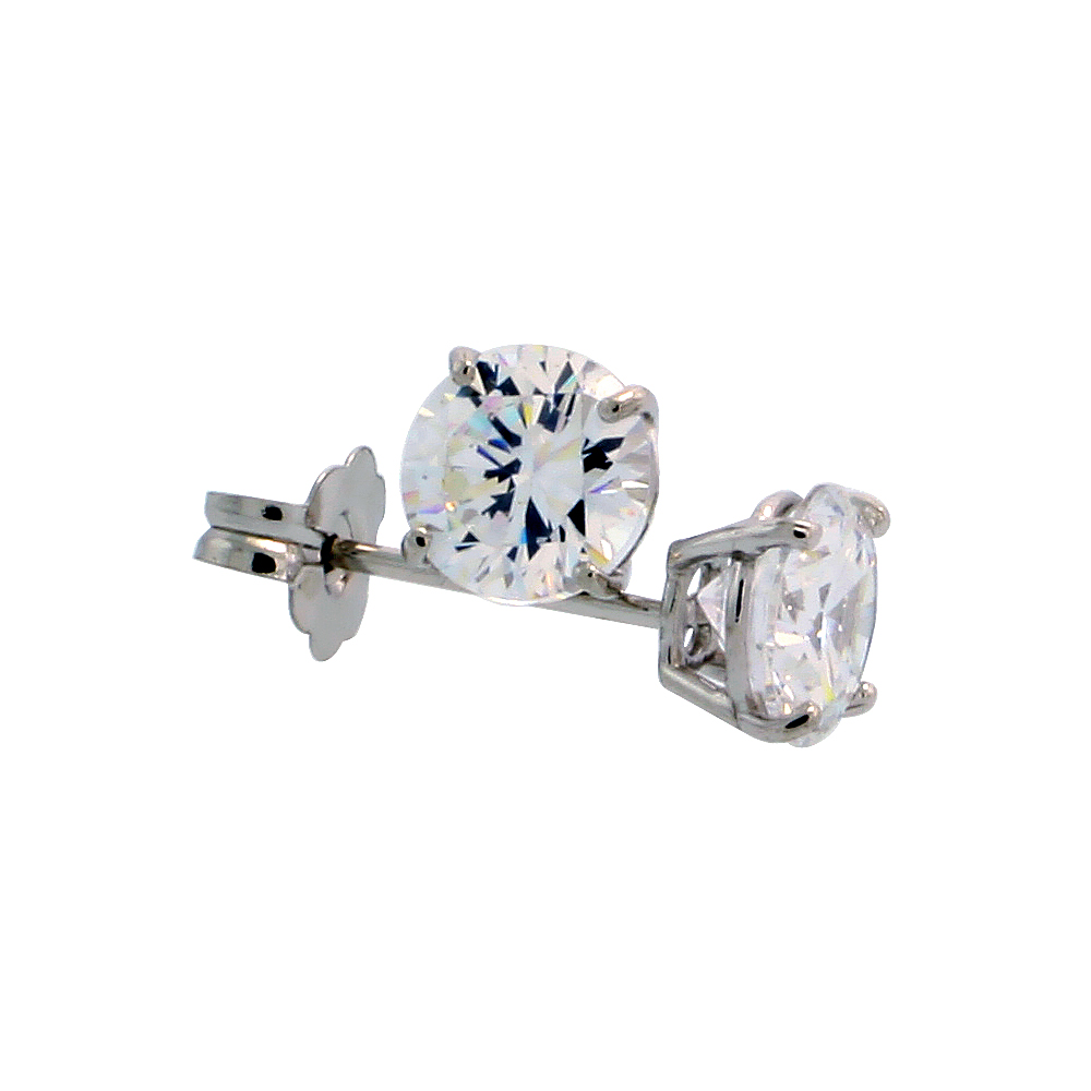 14k White Gold Cubic Zirconia Earrings Studs 5 mm Brilliant Cut Basket Setting 1 carat/pr