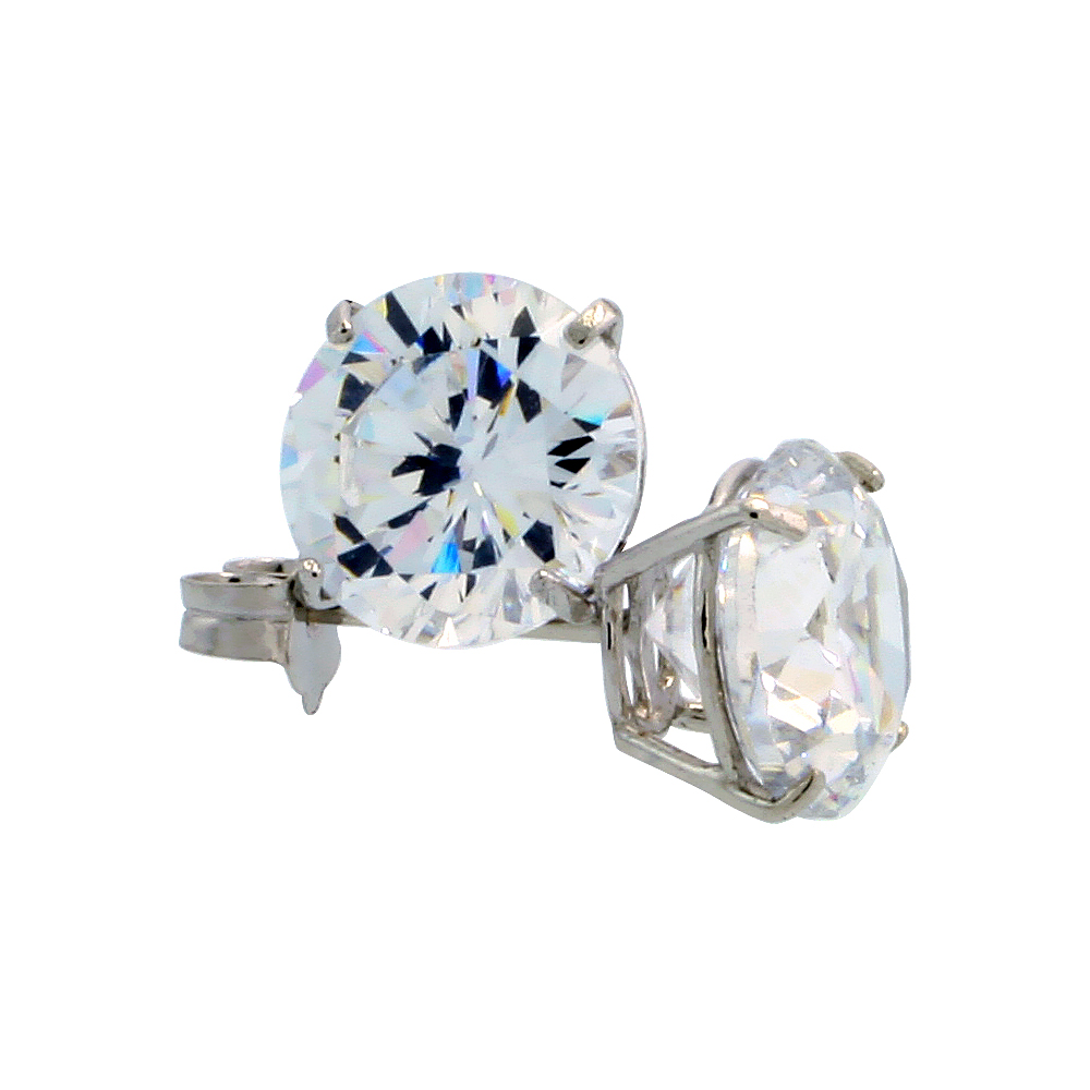 14k White Gold Cubic Zirconia Earrings Studs 7 mm Brilliant Cut Basket Setting 2.5 carats/pr