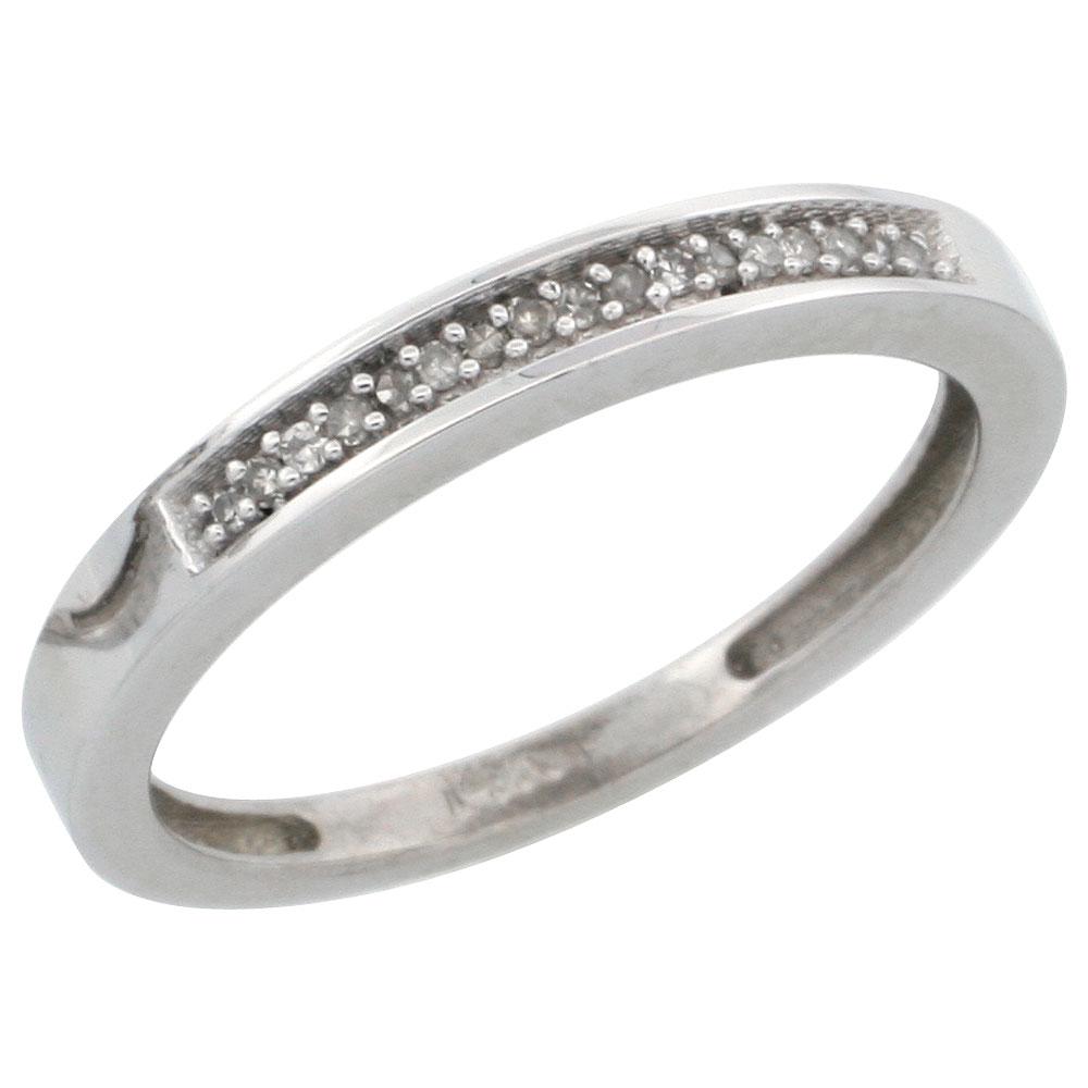 "Sabrina Silver 14k White Gold Ladies"" Diamond Band, w/ 0.08 Carat Brilliant Cut Diamonds, 3/32 in. (2.5mm) wide, Size 7.5 at Sears.com"