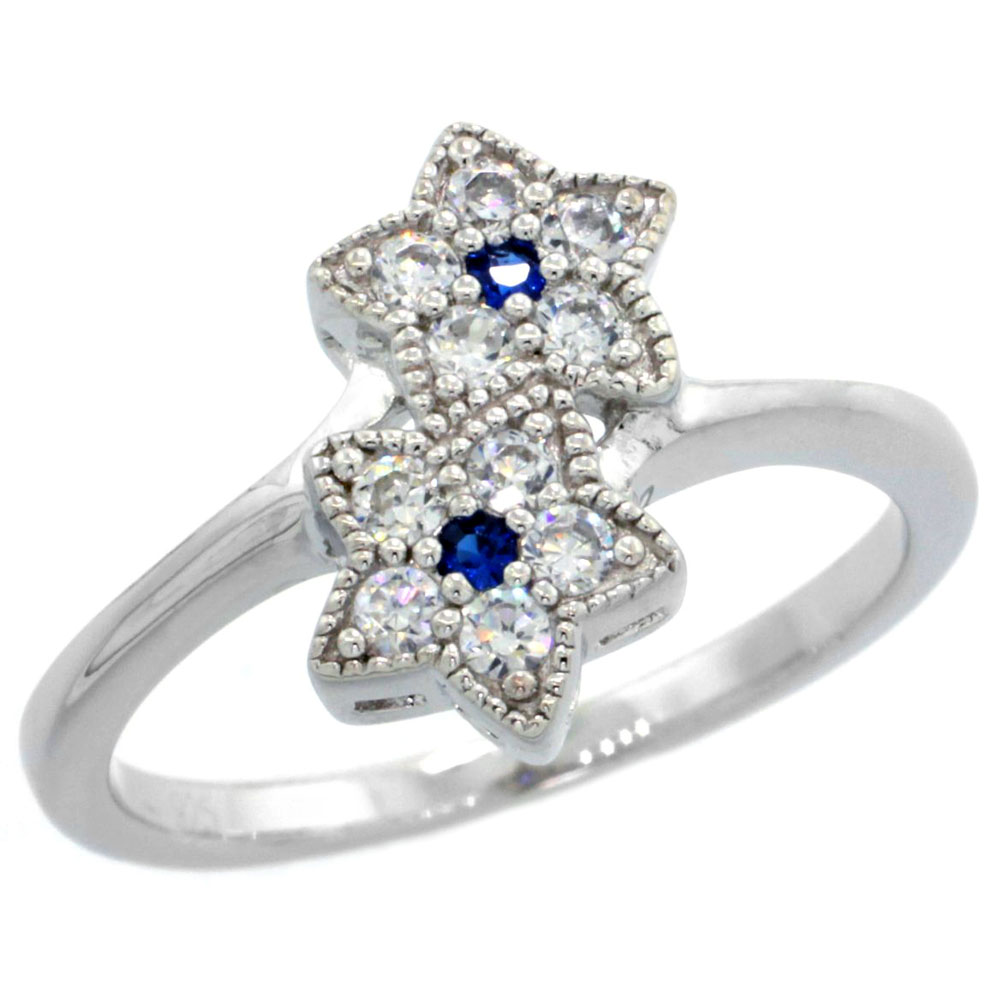 Sabrina Silver Sterling Silver Double Star Flower Ring w/ Brilliant Cut Clear & Blue Sapphire Color CZ Stones, 1/2 in. ...