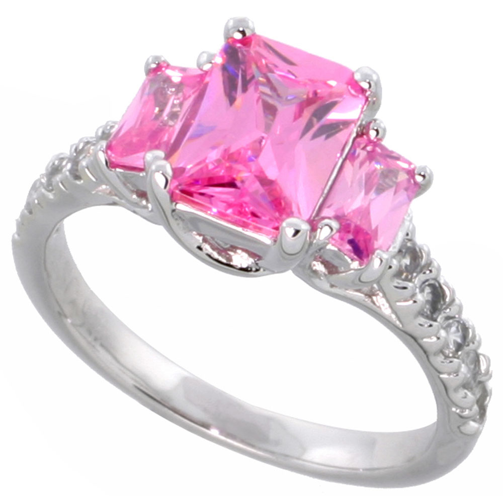 Sabrina Silver Sterling Silver Pink Cubic Zirconia Engagement Ring Emerald Cut 1/12 ct center  ct Sides, sizes 6-9 at Sears.com
