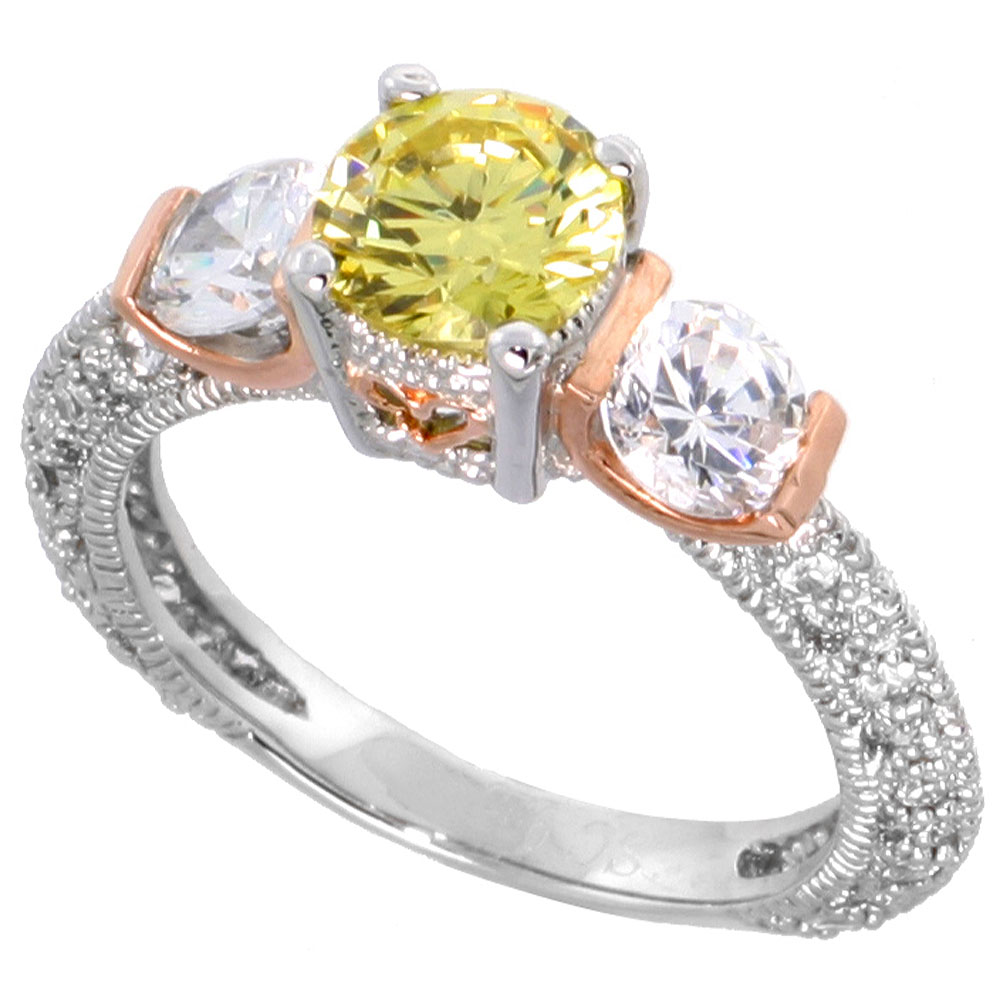 Sabrina Silver Sterling Silver Citrine Cubic Zirconia 3-stone Engagement Ring  ct cntr  ct Sides, sizes 6-9 at Sears.com