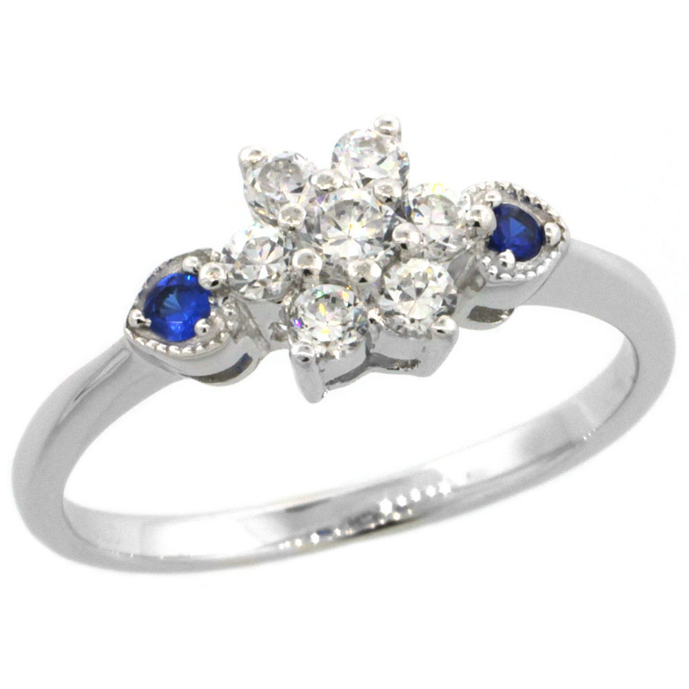 Sabrina Silver Sterling Silver Flower Cubic Zirconia Engagement Ring Blue Sapphire Color sides, sizes 6-9