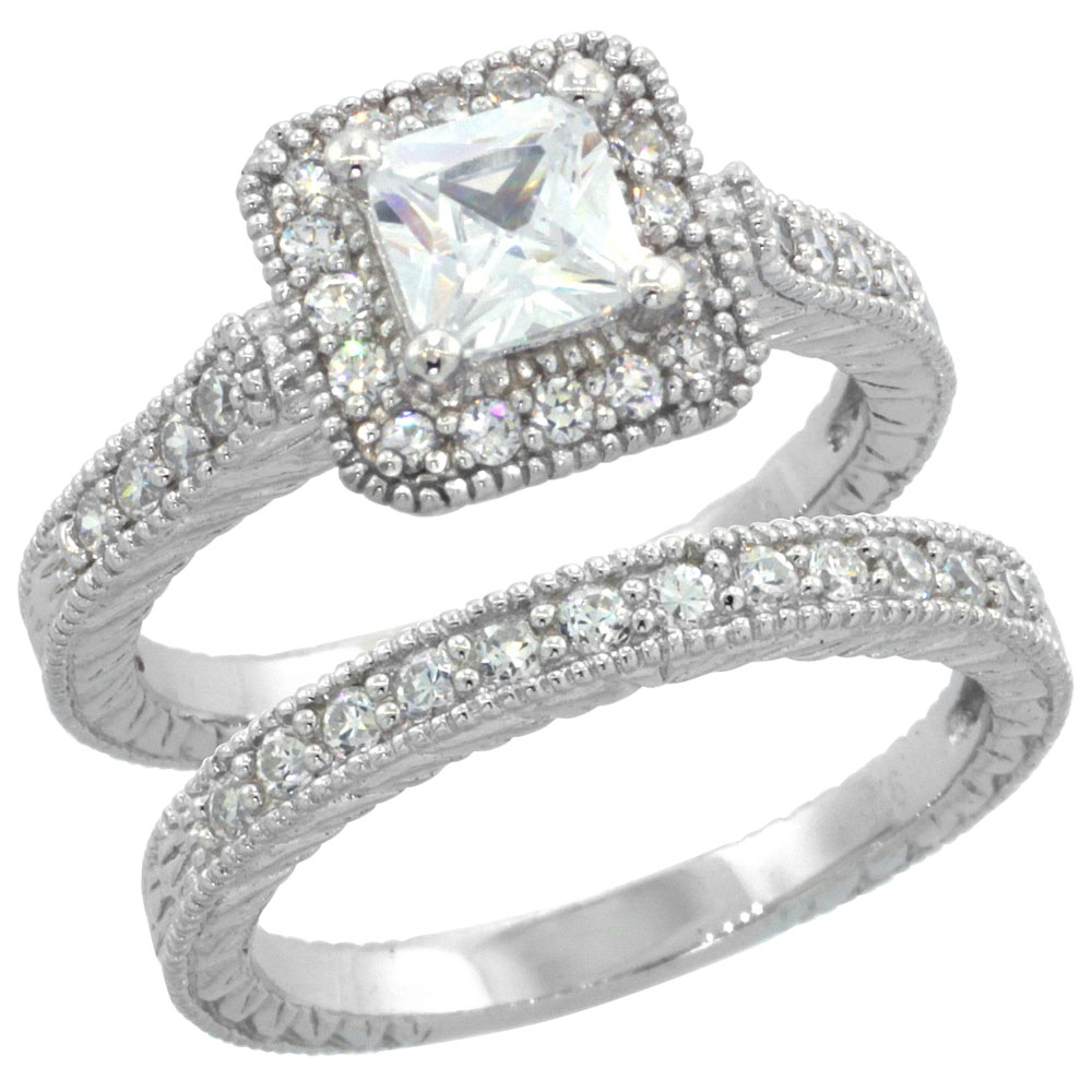 Square Vintage Wedding Rings - Rings & Bands
