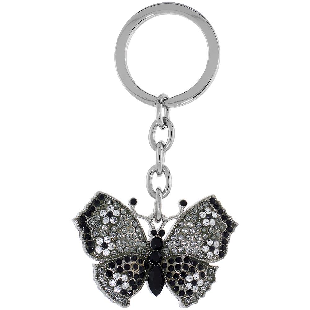 """Large Butterfly Key Chain, Key Ring, Key Holder, Key Tag , Key Fob, w/ Clear & Black Swarovski Crystals, 3-1/2 tall"""""""