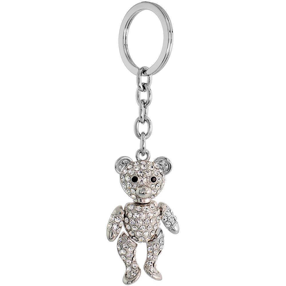 """Movable Teddy Bear Key Chain, Key Ring, Key Holder, Key Tag , Key Fob, w/ Brilliant Cut Clear & Black Swarovski Crystals, 4-1/2 tall"""""""