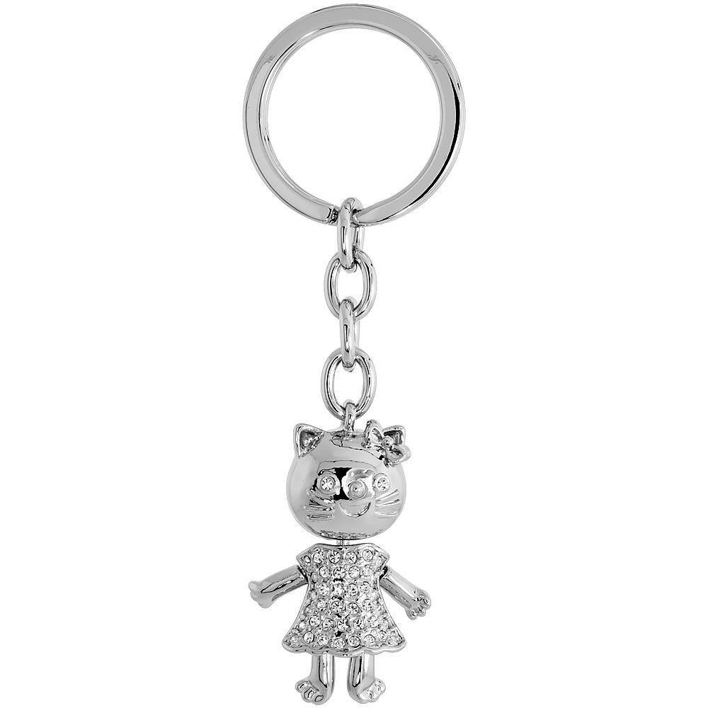 "Movable Kitty Cat Key Chain, Key Ring, Key Holder, Key Tag , Key Fob, w/ Brilliant Cut Swarovski Crystals, 3-3/4 tall"""