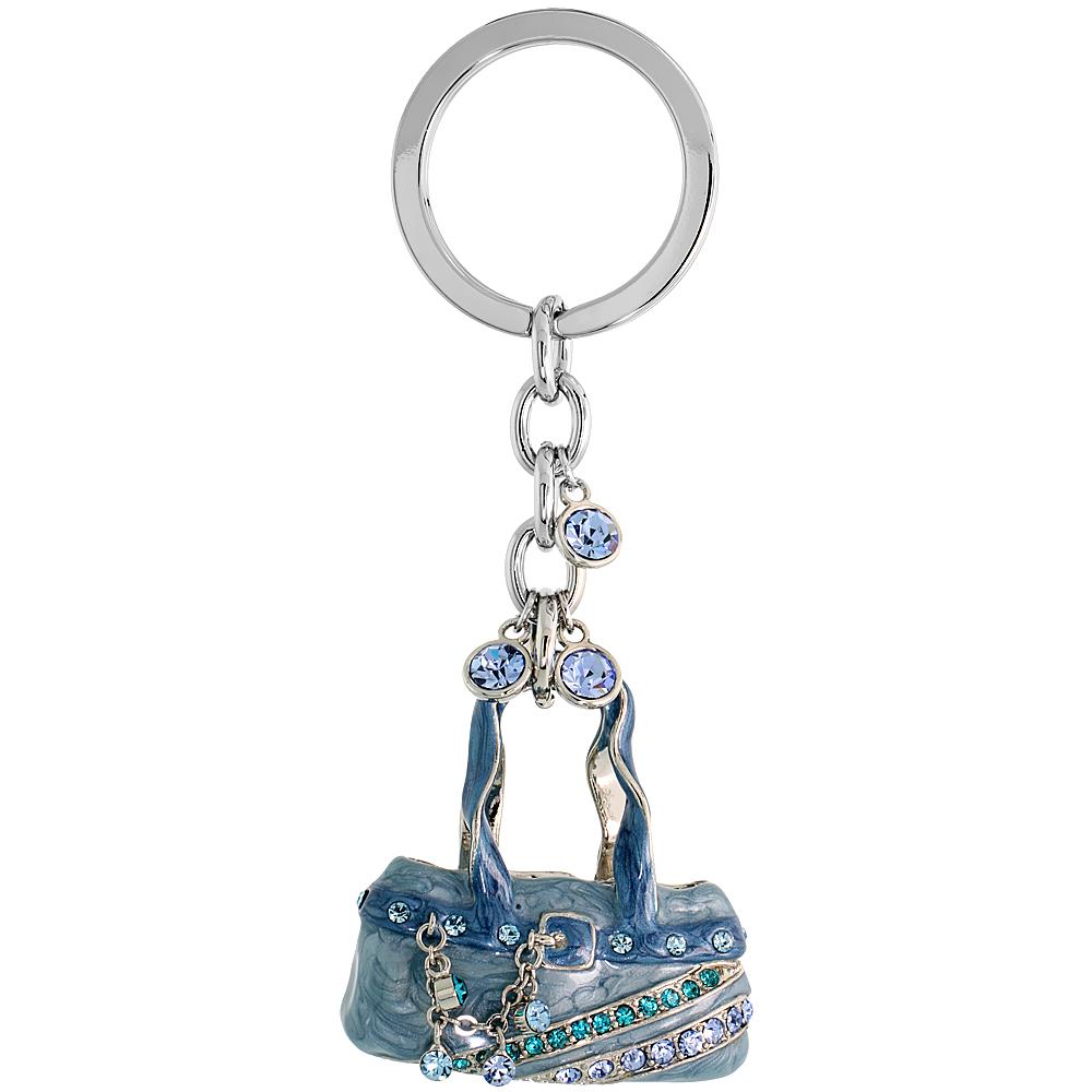 """Blue Purse Hand Bag Key Chain, Key Ring, Key Holder, Key Tag , Key Fob, w/ Brilliant Cut Blue Topaz-color & Aquamarine-color Swarovski Crystals, 4 tall"""""""