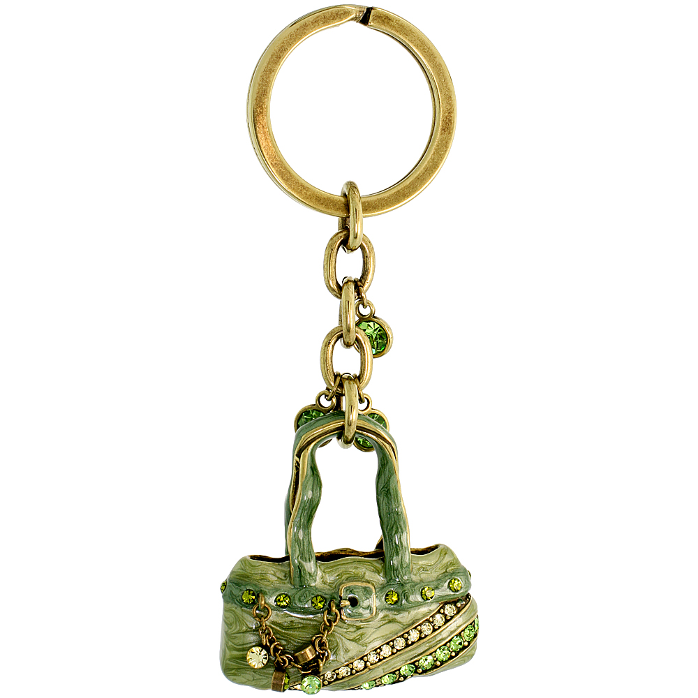"Green Purse Hand Bag Key Chain, Key Ring, Key Holder, Key Tag , Key Fob, w/ Brilliant Cut Peridot-color & Yellow Topaz-color Swarovski Crystals, 4 tall"""