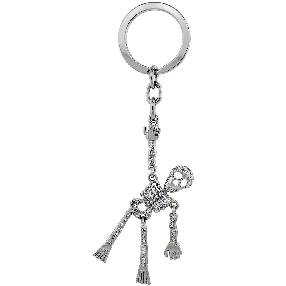 "Movable Human Skeleton Key Chain, Key Ring, Key Holder, Key Tag , Key Fob, w/ Brilliant Cut Swarovski Crystals, 5 tall"""