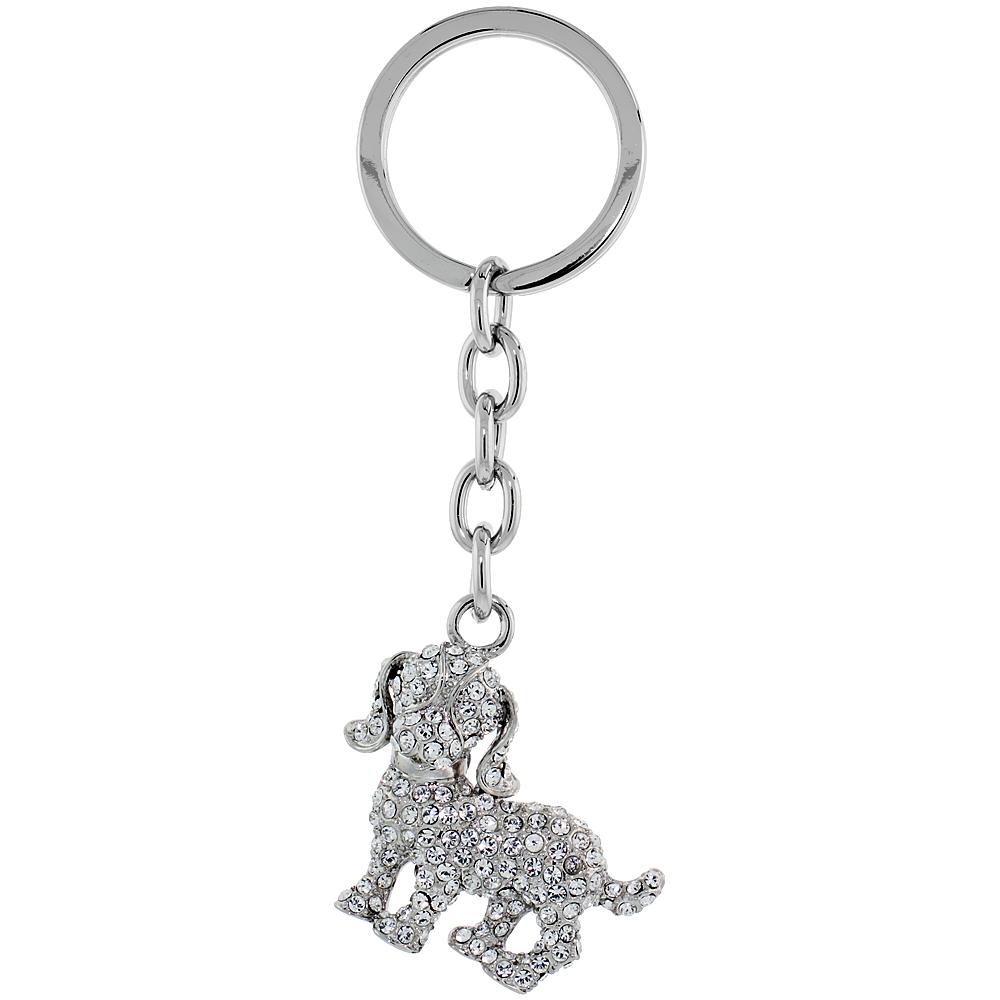 """Beagle Dog Key Chain, Key Ring, Key Holder, Key Tag , Key Fob, w/ Clear Swarovski Crystals, 4 tall"""""""
