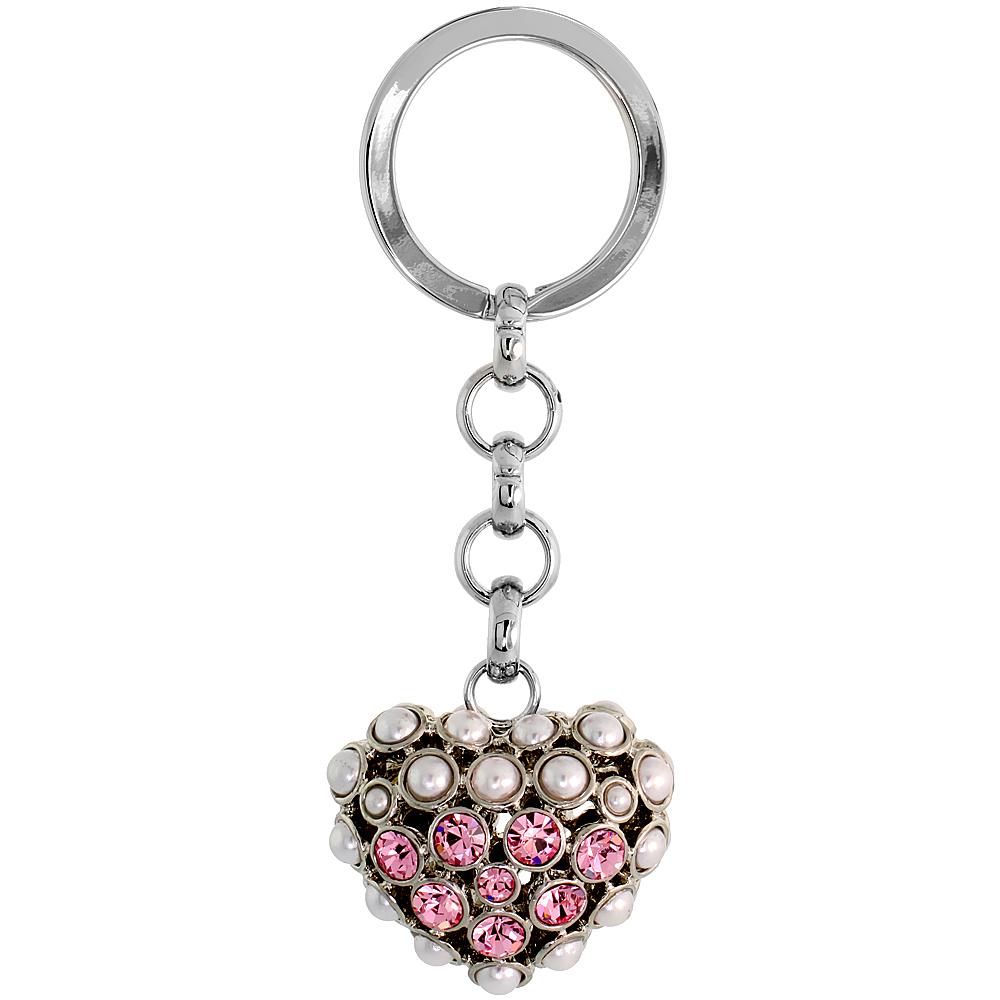 "Puffed Heart Key Chain, Key Ring, Key Holder, Key Tag , Key Fob, w/ Beads & Brilliant Cut Pink Topaz-color Swarovski Crystals, 3-1/2 tall"""