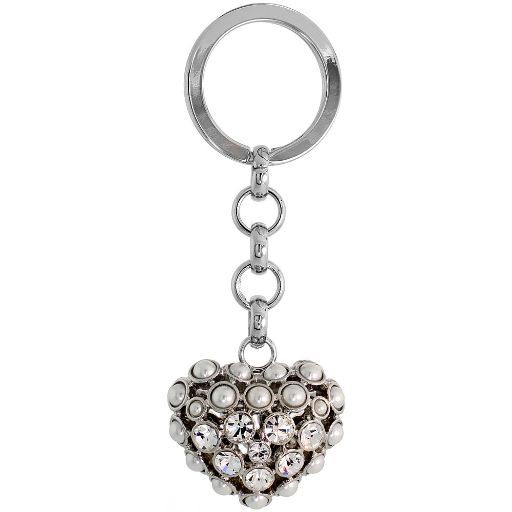 """Puffed Heart Key Chain, Key Ring, Key Holder, Key Tag , Key Fob, w/ Beads & Brilliant Cut Swarovski Crystals, 3-1/2 tall"""""""