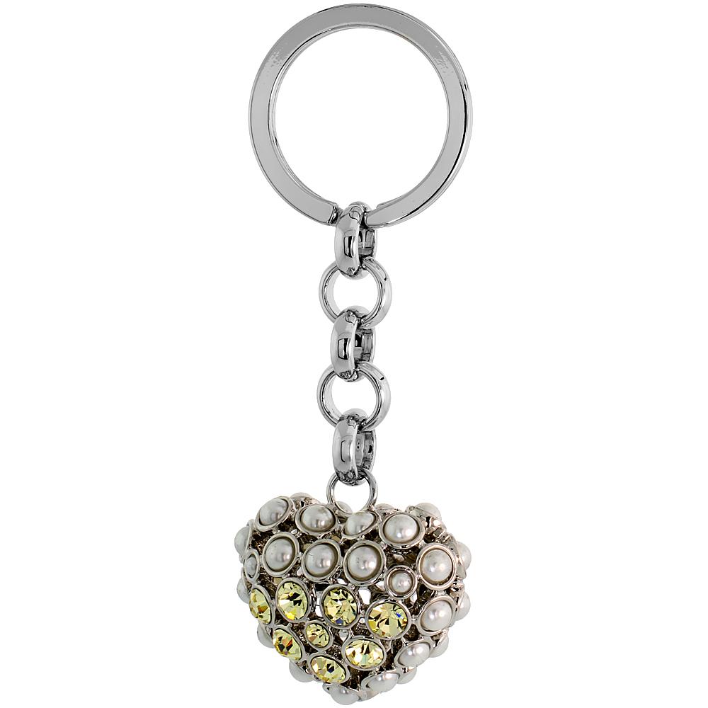 """Puffed Heart Key Chain, Key Ring, Key Holder, Key Tag , Key Fob, w/ Beads & Brilliant Cut Yellow Topaz-color Swarovski Crystals, 3-1/2 tall"""""""