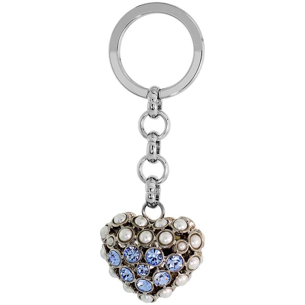 """Puffed Heart Key Chain, Key Ring, Key Holder, Key Tag , Key Fob, w/ Beads & Brilliant Cut Blue Topaz-color Swarovski Crystals, 3-1/2 tall"""""""