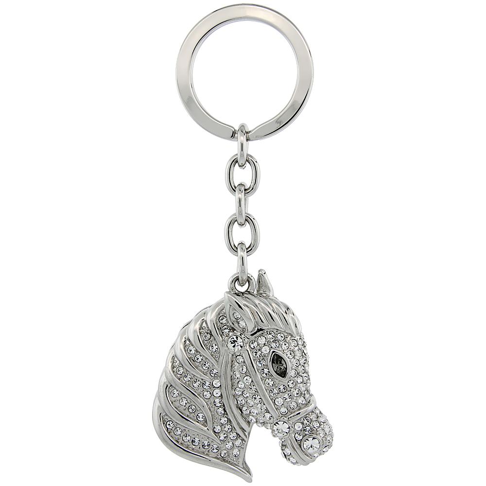 """Horse Head Key Chain, Key Ring, Key Holder, Key Tag , Key Fob, w/ Brilliant Cut Swarovski Crystals, 4 tall"""""""
