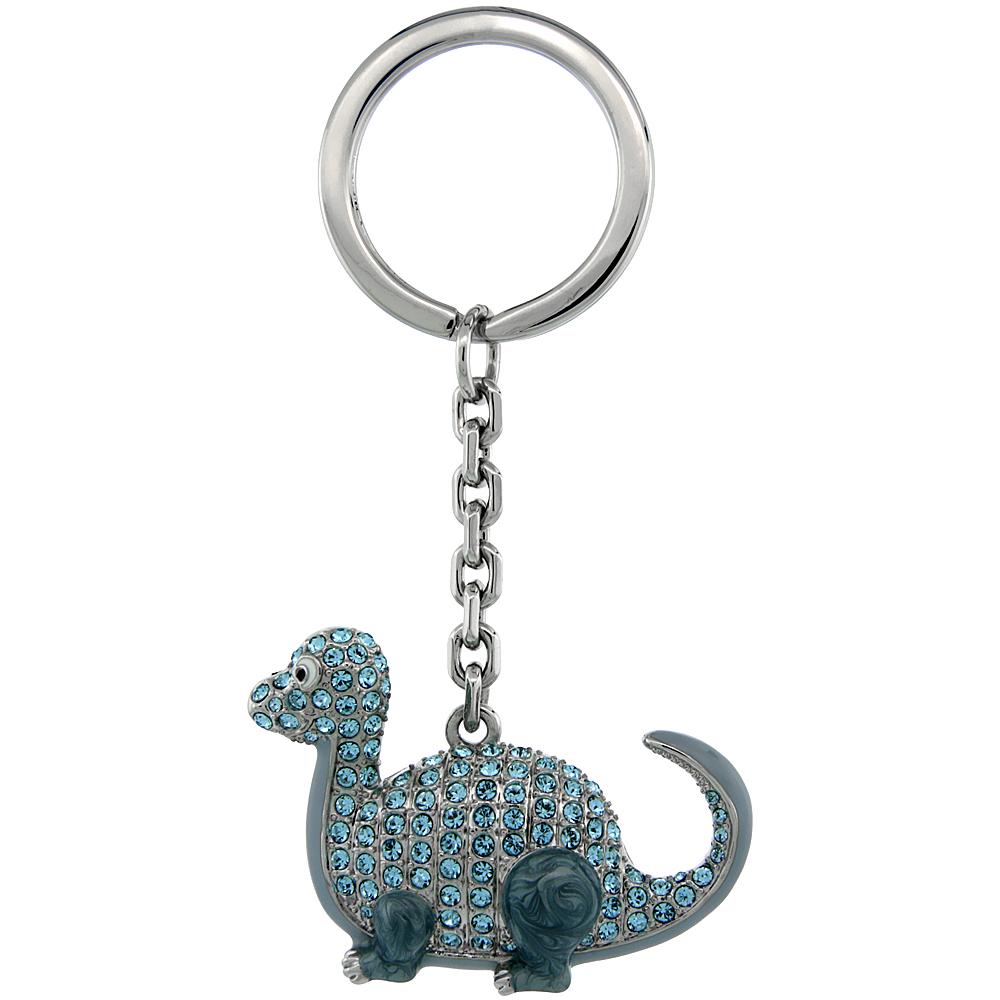 "Dinosaur Key Chain, Key Ring, Key Holder, Key Tag , Key Fob, w/ Blue Topaz-Color Swarovski Crystals, 3 1/2 tall"""